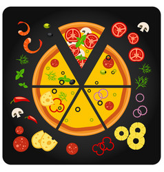 Pizza ingredients - top view of pizza with vector