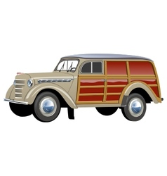 Retro woody van vector