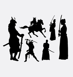 Samurai warrior male and female silhouettes vector