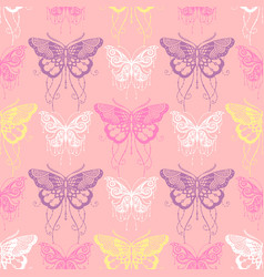 Seamless background with butterflyes vector