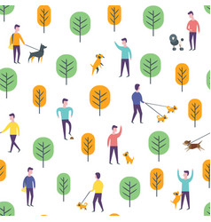 Seamless park pattern dog walking people vector
