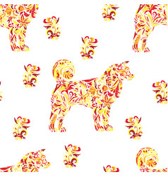 Seamless pattern with dogs on zentangle style vector