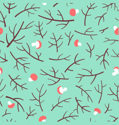 Seamless pattern with tree branch and mushrooms vector