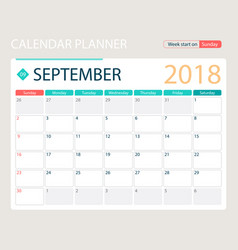 september 2018 calendar or vector image