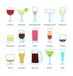 Set color drinks in stemware vector