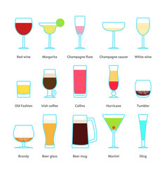 Set of color drinks in stemware vector