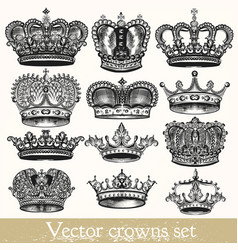 Set of hand drawn crowns in vintage style vector