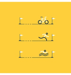 Set of sports icons for triathlon vector