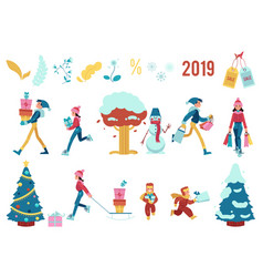 Set of winter holiday sale vector