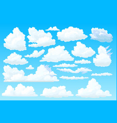 shaped fluffy cloud set vector image