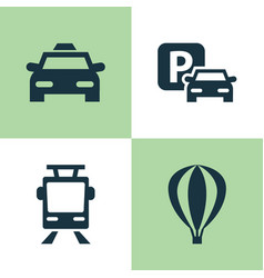 Shipment icons set collection of airship cab vector