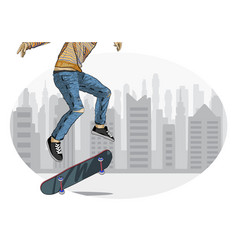 Skateboarder performing trick vector