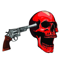Skull aiming with revolver vector