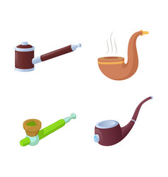 smoking pipe icon set cartoon style vector image