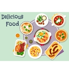 Snack dishes for lunch menu icon design vector image