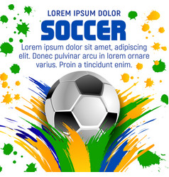 Soccer ball poster for football sport tournament vector