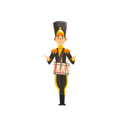 Soldier in black uniform playing drummer member vector