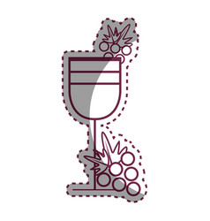 Sticker wine glass with grape fruit vector