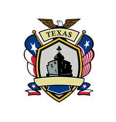 Texas navy battleship flag icon vector
