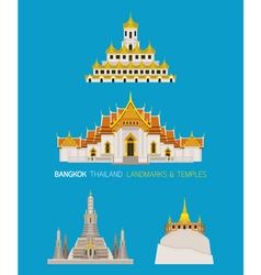 Thailand Temples Landmarks Objects Set vector image