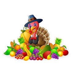 Thanksgiving day turkey with fruits and vegetables vector
