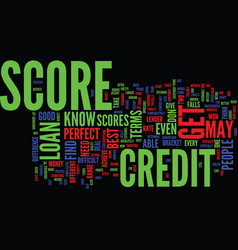 The credit score scale revealed text background vector
