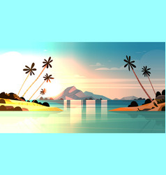 tropical sunset on seaside amazing exotic vector image