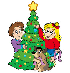 two kids decorating christmas tree vector image