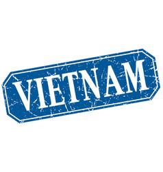 vietnam blue square grunge retro style sign vector image