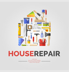 White poster with home of tools for house repair vector