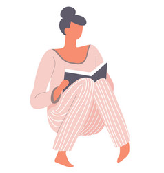 woman wearing pajama reading book in hard cover vector image