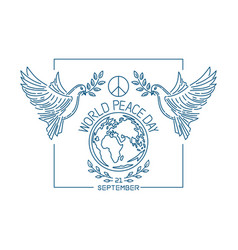 world peace day line logo design vector image