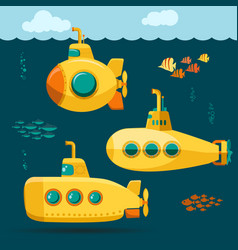Yellow submarine undersea with fishes cartoon vector