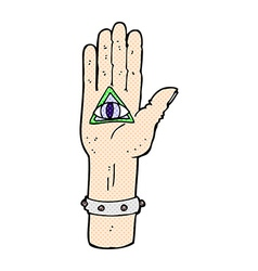 comic cartoon spooky hand symbol vector image vector image