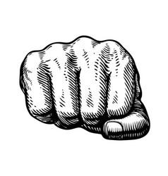 fist hand gesture sketch punch symbol vector image vector image