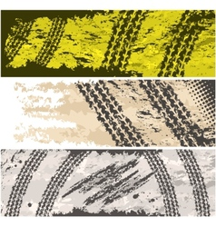 Grunge tire tracks banners vector image