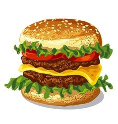 hamburger with cheese vector image vector image