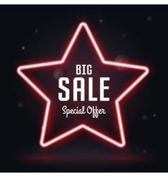 Neon Frame Sale star banner vector image vector image