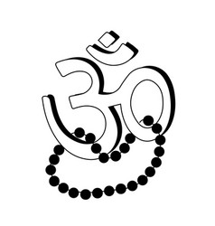 om aum - symbol of hinduism flat icon with beads vector image vector image