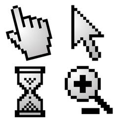 Pixelated computer cursors vector image vector image