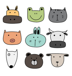 set of hand drawn cute animal vector image