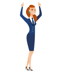 stewardess standing with raised arms up vector image vector image