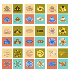 assembly flat icons coffee shop logo vector image vector image