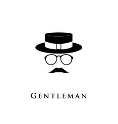 creative logo gentleman with a mustache hat and g vector image vector image