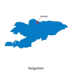 Detailed map of Kyrgyzstan and capital city vector image vector image