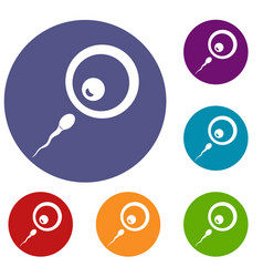 Donor sperm icons set vector