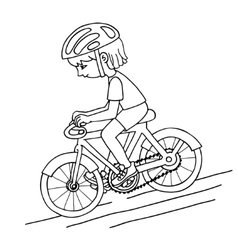 Edit girl on a bicycle contur drawing vector image