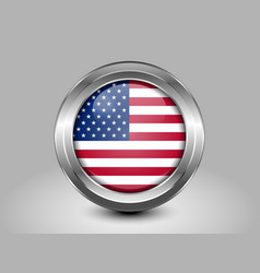 Flag of United States of America Glass Round Icon vector image vector image