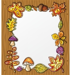frame with autumnal nature symbols vector image