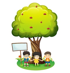 Kids under the tree beside the empty wooden board vector image vector image